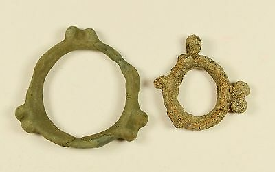 Ancient Celtic Bronze Knobbed Ring - Proto Money 600 - 400 BC - LOT OF 2