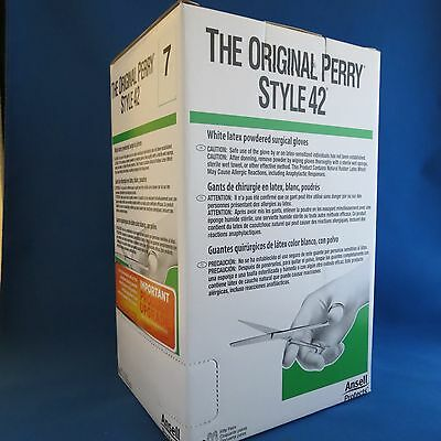 Pack/50 Ansell Perry Style 42 Powdered Latex Gloves Size 7 # 5711103