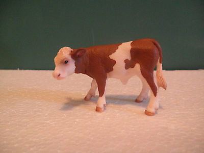 Schleich Calf Spotted Brown and White Cow Figure USED