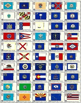BICENTENNIAL STATE FLAGS (1976) #1633-82 Full Mint Sheet of 50 Postage Stamps