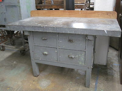 Antique Oak Industrial Work Bench Kitchen Island Old Gray Paint