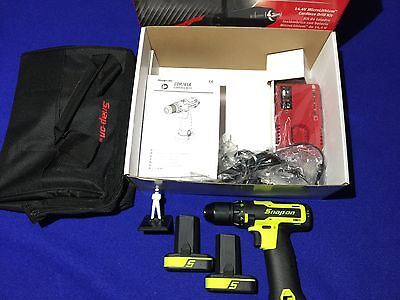 """Snap On 14.4v 3/8"""" Cordless LITHIUM Drill Set in HIGH VIS YELLOW CDREU761AHV NEW"""