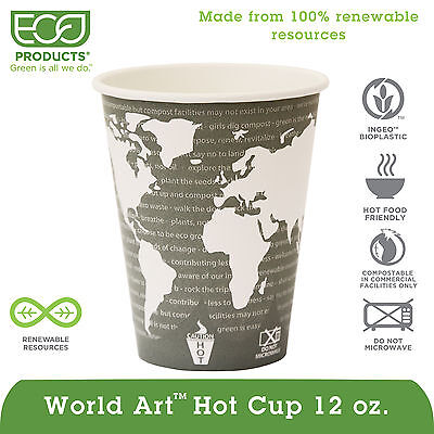 Eco-Products Steel Blue World Art Renewable Resource Compostable 12 Ounce Hot