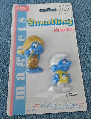 Nat And Snappy Smurfling Smurf Refrigerator Magnets Arjon Collectibles Moc 1989