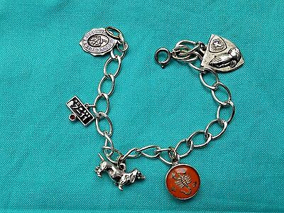 Vintage Sterling Silver Charm Bracelet, College Theme, Methodist, Estate Jewelry