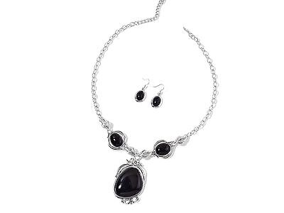 Black Howlite Earrings and Necklace