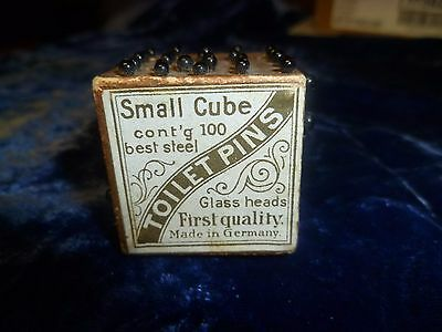 Antique or Vintage Glass Head Pins Small Cube Germany
