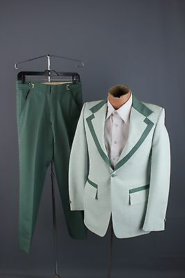 Vtg 60s 70s Green Tuxedo sz Small #1265 After Six Formals Tux Leisure Suit