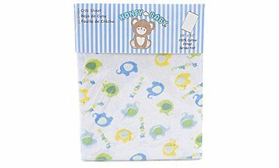 Honey Baby 100% Cotton Boys Fitted Crib & Toddler Bed Sheet (Elephant Blue)