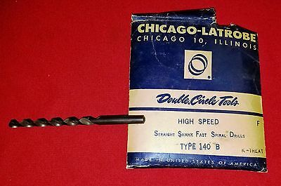 Chicago Latrobe Vintage 140-B Letter F High Spiral Jobber Drill Bit  USA Made