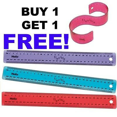 *B*O*G*O*F* Helix Flexible Translucent Tinted Plastic Ruler 30cm Blue/Purple/Red