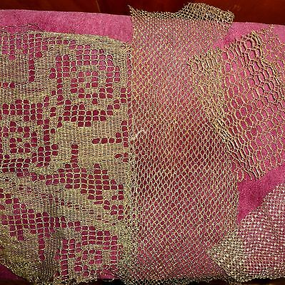 Antique French Gold/Bronze Metal Lace Net Many Patterns