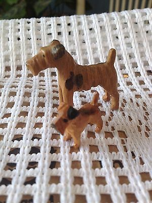 Vintage Wooden Dogs - Wire Fox Terrier Pair - Carved Wood