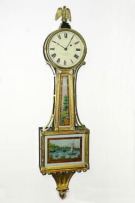 Banjo clock. Signed on dial; Aaron Willard Gilded & Reverse Glass panted scenes.