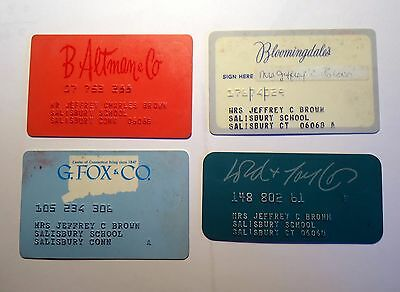 1970s charge cards Bloomingdale's, Lord & Taylor, B Altman, G. Fox lot of four