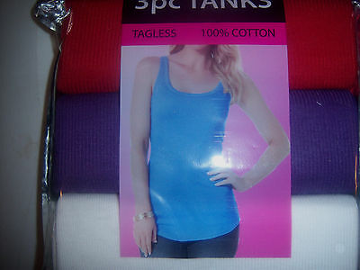 3 Womens Tank Tops Size 2 X Large 100% Cotton New Tagless Multi Color