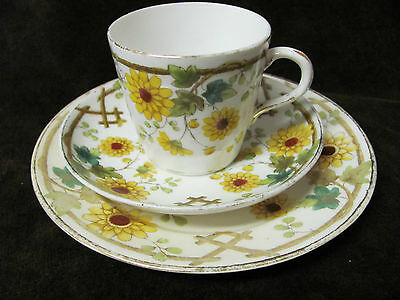 Antique  China 1895 Cup and Saucer trio  white yellow & green