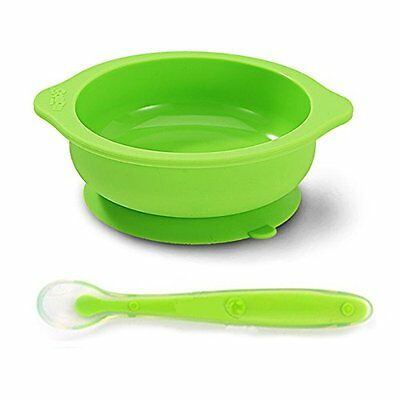 Baby/Toddler Feeding Silicone bowl with Stay-Put Suction Base and Spoon Set