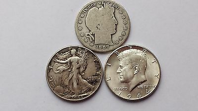 90 Percent Silver Halves, Lot of 3 (#3) - Barber, Walking Liberty, Kennedy