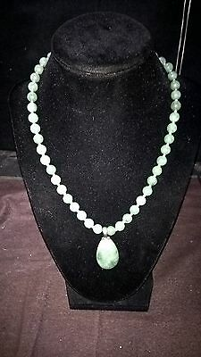 Chinese Collectible Handwork Green Jade Sterling Silver Bead Necklace & Pendant