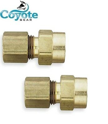 "2 Pack Brass 1/4"" OD Tube x 1/4"" NPT Female FNPT Compression Fitting Coyote Gear"