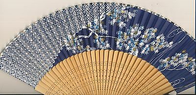 "14"" Chinese Or Japanese Slik & Bamboo Fan Blue Forest & Sky Scene"
