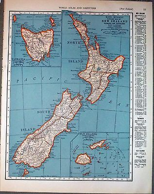 1943 vintage ORIGINAL map of NEW ZEALAND and SOLAR SYSTEM WW2 ERA WWII Atlas