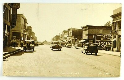 c1939 Hurley, Wisconsin Real Photo RPPC Post Card- Silver Street- View
