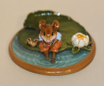 Wee Forest Folk Lilypaddle Blue Shirt PM-3 Mouse on Lily Pad Feet in Water