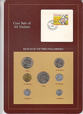 Republic of Philippines 7 coins 1983-87 BU Coin Sets of All Nations stamp