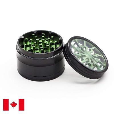 Lightning Designed 2.5 Inch 63mm 4 Piece Aluminum Tobacco Herb Grinder, Green