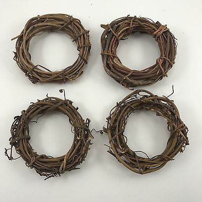 Lot of 4 Grapevine Wreaths Small Natural Approx 2 1/2""