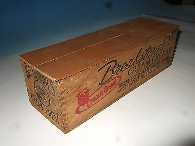 Vtg 3 lb Breakstone's Cream Cheese Crest Doveltail Wooden Box Crate Advertising