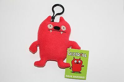 Gund UGLY DOLL KEYCHAIN DAVE DARINKO RED NEW WITH TAGS clip on PLUSH KEYCHAIN