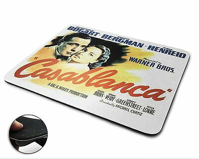 Casablanca Movie Poster Premium Quality Flexible Rubber Mouse Mat / Mouse Pad