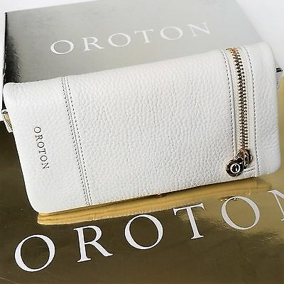 RRP$225 New OROTON Women Bueno Soft Fold Wallet Purse Clutch Leather White Gloss