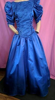 "1980's VINTAGE COLBOLT BLUE SATIN LONG, FULL PROM, PARTY DRESS-36"" BUST-USA"