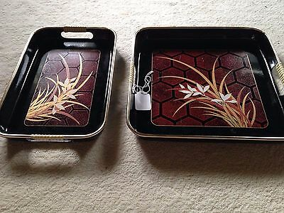 Vintage Japanese Lacquer Ware 2 pc Tray set Honeycomb
