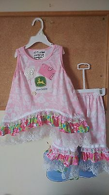 4T toddler baby girl birthday Party Dress capris john Deere 2 PC lot set OUTFIT