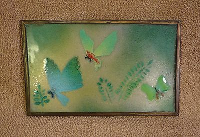 3 Green Butterflies Hand Painted Art on Tile Flying Insects on Yellow Sky