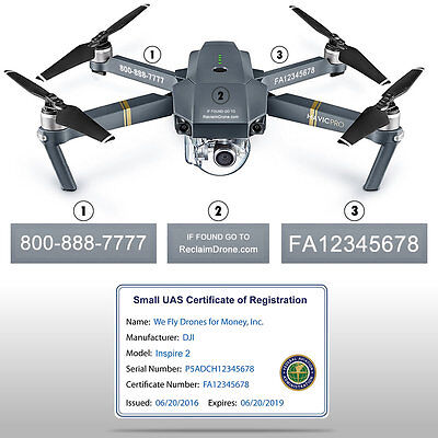 Drone Decals / Labels + FAA UAS Registration Certificate ID Card - Commercial