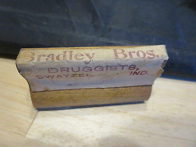 Antique Wood & Rubber Druggist Stamp Bradley Brothers Swayzee Ind IN Indiana
