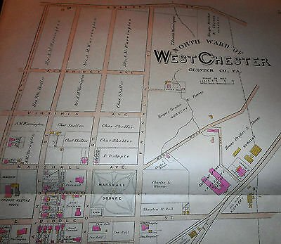 NORTH WARD of WEST CHESTER CHESTER COUNTY 1883 LARGE COLOR MAP BIDDLE / GAY St.
