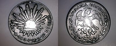 1834-Mo ML Mexican 8 Reales World Silver Coin - Mexico - Holed