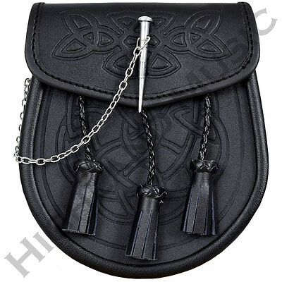 New H M Kilt Sporran Celtic Embossed Black Leather Latch Pin Detail And Chain