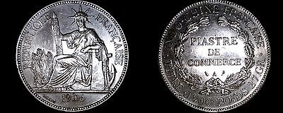 1906-A French Indo-China 1 Piastre World Silver Coin - Vietnam