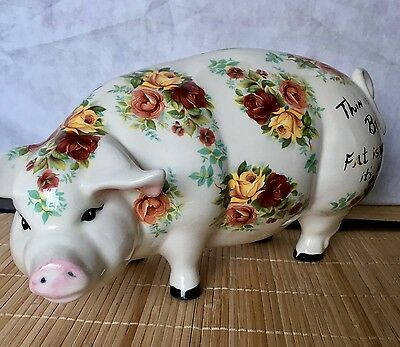 """Thin is in but fat is where it's at"" Large 12"" Ceramic Pig Figure"