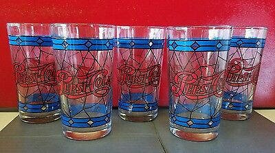 Vintage Pepsi-Cola Tiffany Style Glass Glasses ~ Lot Of 5