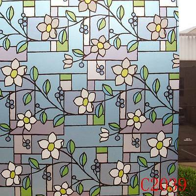 90cm x1m Floral Privacy Frosted Frosting Removable Glass Window Film c2039