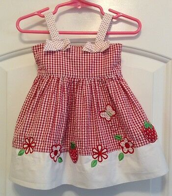 Baby Girl's B. T. Kids Red & White Cotton Gingham Sundress In Size 3-6 Months
